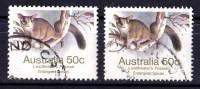 Australia 1981, 1983 Endangered 50c Possum P12.5 & P14 Used SG 796, 796a - - Used Stamps