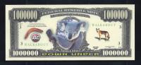 """1 000 000 Dollars"" Fantasy Note,, Beids. Druck, RRRR, UNC, Ca. 156 X 67 Mm, Koala - USA"