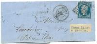 VARIETE N° 14 BLEU NAPOLEON SUR LETTRE / AMIENS POUR ROUEN / 27 OCT 1860 - Marcophilie (Lettres)