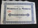 Action 100 Frs Compagnie Des Petroles De Moreni Siège Social à Paris Share Coupons 28/05/1932 - Pétrole