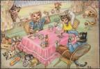 Allemagne Vers 1960. Carte Postale, Dessin. Animaux Jouant Aux Cartes. Chats. Chat Ivrogne, Endormi, Avec Puces - Cartes à Jouer