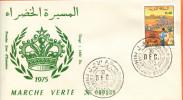 """Maroc,Marruecos,Morocco,FDC 1975 , TP N° 745 """" La Marche Verte """" - Maroc (1956-...)"""