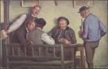 Tchécoslovaquie. Carte Postale. Joueurs De Cartes Dans Un Café. Peinture, Bière Bodweiser - Playing Cards