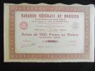 Action 500 Frs Magasins Generaux Du Mobilier Anciens Etablissements Joseph Saglia Share Coupons Siege Toulon - Actions & Titres