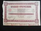 Action 100 F AU PORTEUR PARIS - FONCIER Categorie B  Siege Paris Share Coupons  Août 1927 - Actions & Titres