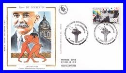 2889 (Yvert) Sur FDC Illustrée Sur Soie - Centenaire Du Comité International Olympique Pierre De Coubertin - France 1994 - FDC
