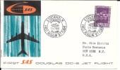 LE57 Lettre De Suède De PA 1ère Liaison Scandinavie-New York Par Douglas DC-8 De 1960 - Luftpost
