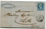 Ambulant  N°95 BALE    A PARIS Sur LAC Du 31/10/1866 Avec N°22 Oblitéré B P - Marcophilie (Lettres)