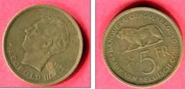 5 FRANC  1936 (KM  24)  TB    25 - Congo (Belga) & Ruanda-Urundi