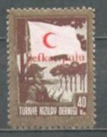 1949 TURKEY 40K. RED CRESCENT ASSOCIATION OVERPRINTED CHARITY STAMP MICHEL: 160 MNH ** - 1921-... Republik