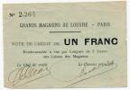 PARIS // GRANDS MAGASINS Du LOUVRE // BON COMMERCIAL De Un Franc - Bons & Nécessité