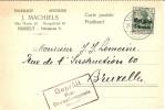 Hasselt- 25/10/15 Pour Bruxelles - Censure Hasselt- Pharmacie J. Machiels - TB - Guerre 14-18