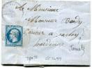 LOUPPY SUR LOISON Meuse CAD Type 22 Faible 23.9.1863 + GC 2099 Sur 20c Empire + Boîte Rurale A ( Jametz)      ...G - Marcophilie (Lettres)