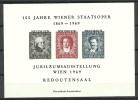 ÖSTERREICH Austria 1969 Jubiläumsausstellung Wien Souvenier Sheet Neudruck MNH - Blocks & Kleinbögen