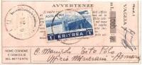 VAGLIA POSTALE Originale Del 1936 Spedito In Eritrea - Cheques & Traverler's Cheques