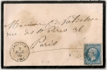 GC 986 + TYPE 15 CHAUSSIN Jura Sur Enveloppe Napoléon Dentelé. - 1849-1876: Classic Period