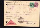 Brief Dienstpost-NN- Knr: D109 Ua., Mit 30/5 Pfg OSt Dresden 3.8.27 über 2,25 RM - Aktenlochung - Deutschland