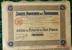 1 ACTION   -  SOCIETE ARDOISIERE De L´HAMERIENNE - ACTION DE PRIORITE DE CENT FRANCS AU PORTEUR   - 1921 - Mines