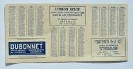 Petit CALENDRIER Année 1950 / Vin De Liqueur DUBONNET / CHAMPAGNE GAUTHIER / SABENA / TOURING SECOURS - Calendriers