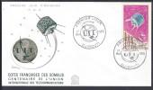 COTE DES SOMALIS -  TIMBRE N° 42 CENTENAIRE UIT SUR ENVELOPPE 1er JOUR DJIBOUTI 17 MAI 1965 -   - - Lettres & Documents