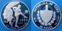 CUBA 10 P 1992 ARGENTO PROOF SILVER INDIAN USA 94 WORLD CUP FOOTBALL COUPE MUNDIAL SOCCER PESO 20g TITOLO 0,999 CONSERVA - Cuba