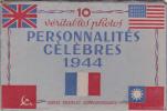 """Serie Complete Dans Son Carnet 10 Photos """"personnalités Celebres De 1944""""-militaria-etat Neuf - Personnages"""