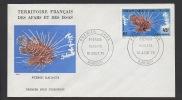 DF / ANIMAUX / POISSONS / PTEROIS RADIATA RASCASSE A NAGEOIRES BLANCHES SUR FDC DE DJIBOUTI 10 AOUT 1976 - Fische