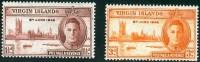 VIRGIN ISLANDS, COLONIA BRITANNICA, BRITISH COLONY, COMMEMORATIVO, RE GIORGIO VI, 1946, NUOVI (MNH**), Scott 88,89 - British Virgin Islands