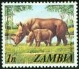 ZAMBIA, FAUNA, RINOCERONTE, 1975, FRANCOBOLLO NUOVO (MLH*) - Zambia (1965-...)