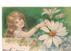 25025 Enfant Fillette Amour Fleur -série Relief - Effeuiller Marguerite : Je T´aime -KF Paris Série746