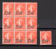 Semeuse Fond Pleine Surchargée,  10 X  225**(se Détache), Cote 37,50 €, - 1906-38 Semeuse Camée