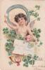 CPA Ange Angelot Angel Chérubin Fer à Cheval Trèfle  Cochon Porc Pig Porcelet Illustrateur Fantaisie - Angels