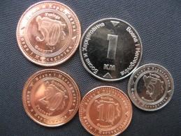 Lot Coins From Bosnia And Herzegovina, 5,10,20,50 Feniga, 1 Konvertibilna Marka, 2013, Unc - Bosnie-Herzegovine