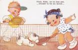 "Jolie CPA 1946.- Béatrice MALLET.- Tennis. ""Finis, Boby, On Ne Joue Pas, Atends La Fin Du Match""... - Mallet, B."