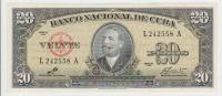 Cuba 20 Peso 1960 Pick 80c UNC - Cuba