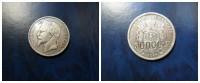 """Francia  5  Francs  Plata 1867  """"A """" Napoleon III Contravalor 50.000, Contramarca En Canto .  24,82 G   MBC - J. 5 Francs"""