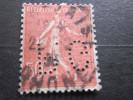 FRANCE =>SEMEUSE N° 199 =>P.G 72 INDICE 4 Timbre Perforé Perforés Perfins Perfin Perforation Lochung - Perforés