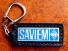 Ancien Porte-clé En Métal Argenté émaillé Camion RENAULT SAVIEM Sur Cuir Noir - Camion