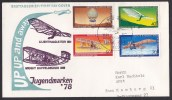 Germany - Berlin: Circulated FDC First Day Cover, 1978, 4 Welfare Stamps, Airplanes, Aviation History (traces Of Use) - [5] Berlijn