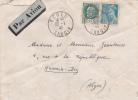 Lettre AVION > ALGERIE Obl 22/7/42 DERNIER JOUR DU TARIF AVION - ECOLE SAVOIE Affrt Petain 2f + Mercure  - Hussein-Dey - Marcophilie (Lettres)