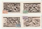 27/2/1950 - Cartes Maximum Numérotées - LA CROIX ROUGE - Série Des Saisons -Yvert & Tellier N° 859-862 - 1940-49