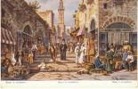 Jerusalem Israel, Bazaar Street Scene Illustration, C1910s Vintage Postcard - Israel
