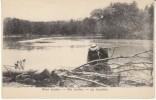 River Jordan Scene, Man With Gun Rifle Shooting Across River, C1900s Vintage Postcard - Jordan