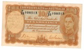 "Australia 10 Shill. 1939,  ""short Snorter"" , VF+ RARE!!!! , FREE SHIP. TO USA. - Emissioni Governative Pre-decimali 1913-1965"
