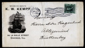 A3515) US Advertising Cover From Chicago 01/06/1908 To Germany With Picture Ship - Vereinigte Staaten