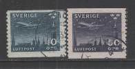 SVEZIA-1930 - 2 Valori Usatil Da 10 O. E 50 O. Di P.A. - Aereo In Volo Notturno Su Stoccolma - In Buone Condizioni.