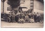 25054 Carte Photo Equipe De Depannage 355 E Regiment Automobile Camion Moto - Tréganteur -militaria Soldat