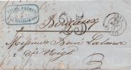 1854 LETTRE AUDE LA NOUVELLE TAXE TAMPON 25  / 6103 - Marcophilie (Lettres)