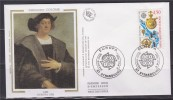 = Europa 1992 Christophe Colomb Enveloppe 1er Jour Strasbourg 9.5.92 N°2755 Carte Avec Trajet Instruments De Navigation - FDC