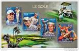 CENTRAL AFRICA 2014 ** S/S 4v Golf Player Nicklaus Hogan Woods A1504 - Golf